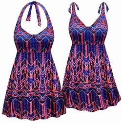 SOLD OUT! CLEARANCE! Plus Size Pink & Blue Chevron Print Halter or Shoulder Straps Swimsuit/SwimDress 4x