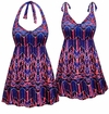 CLEARANCE! Plus Size Pink & Blue Chevron Print Halter or Shoulder Straps Swimsuit/SwimDress 4x