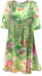 SOLD OUT! CLEARANCE! Semi-Sheer Beautiful Colorful Green & Pink Floral Print Plus Size Coverup Tops or Swimsuit Coverups Plus Size & Supersize 4x