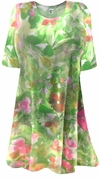 CLEARANCE! Semi-Sheer Beautiful Colorful Green & Pink Floral Print Plus Size Coverup Tops or Swimsuit Coverups Plus Size & Supersize 7x