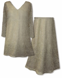 SOLD OUT! SALE! Semi-Sheer Gold Metallic Over-Blouses & Skirts Plus Size & Supersize 6x 7x