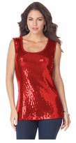 SOLD OUT! Sequin Glam Red Plus Size Tank 4x 5x