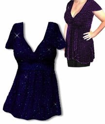SOLD OUT! Clearance! Sexy Black & Blue or Purple Glimmer Magic Plus Size Babydoll Shirts! 3x/4x