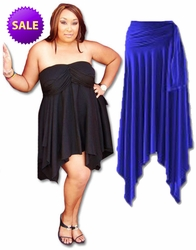 CLEARANCE! Sexy Slinky & Cotton Handkerchief  High-Low Dresses Tops & Skirts! Plus Size & Supersize 2x 5x