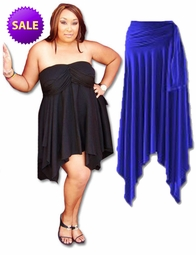 CLEARANCE! Sexy Slinky & Cotton Handkerchief  High-Low Dresses Tops & Skirts! Plus Size & Supersize 2x