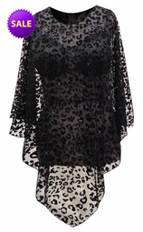 SOLD OUT! CLEARANCE! Sheer Lace Black Velvet Leopard Spots on Sheer Lace See Through With Sparkle Plus Size Supersize Poncho