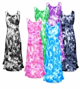 SOLD OUT! CLEARANCE! Shimmering Pastel Tie Dye Crush Velvet Plus Size & Supersize Princess Cut Tank Dresses 6x