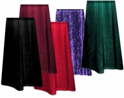 SALE! Shimmering Velvet Plus Size Skirts! Purple - Black - Green - Red - 0x