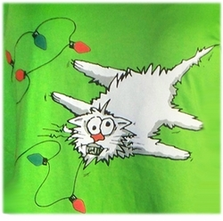 SALE! Shocking! Xmas Kitty! Plus Size & Supersize T-Shirts S M L XL 2x 3x 4x 5x 6x 7x 8x Many Colors! (Lights Only)