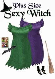 FINAL CLEARANCE SALE! Short Sexy Witch Plus Size Costume Green - Available in Plus Size 1x Tall