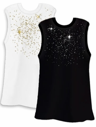 SALE! Silver or Gold Scatter Rhinestud on White or Black Plus Size Tank Top 2xl