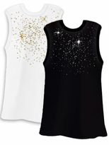 SALE! Silver or Gold Scatter Rhinestud on White or Black Plus Size Tank Top 2x 3x