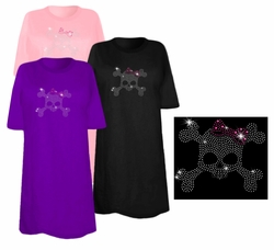 FINAL SALE! Skull & Crossbones With Pink Bow Sparkly Rhinestuds Plus Size & Supersize T-Shirts 2xl 1x