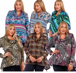 SALE! Slinky Shark Tail Plus Size Shirts! Long Sleeve Cowl Neck Tops - Plus Sizes 4x 5x
