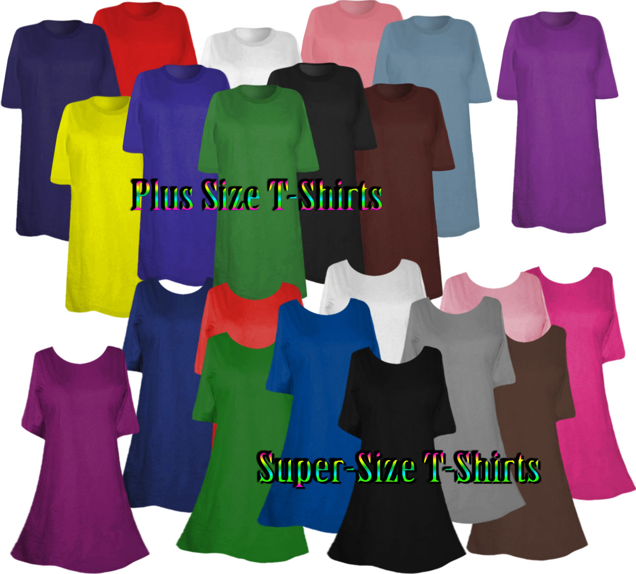 Plus Size Supersize Solid Color T Shirts On Sale 0x 1x