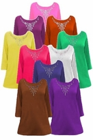 SALE! Solid Color Rhinestone Neckline Plus Size & Supersize Customizable Shirts XL 0x 1x 2x 3x 4x 5x 6x 7x 8x 9x