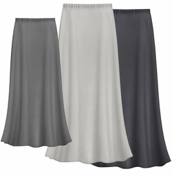 FINAL CLEARANCE SALE! Solid Gray Color Slinky Plus Size Supersize Skirt 0x/1x