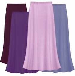 SOLD OUT! FINAL CLEARANCE SALE! Solid Purples & Lavender Color Slinky Plus Size Supersize Skirt 2x