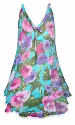 SOLD OUT! Plus Size Teal With Pink and Purple Flowers Print Sheer A-Line Overshirt Top