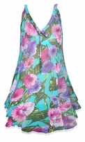 CLEARANCE! Plus Size Teal With Pink and Purple Flowers Print Sheer A-Line Overshirt Top 6x
