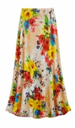 CLEARANCE! Plus Size Peachy Florals Slinky Print Skirt 4x