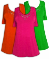 SALE! Sparkly Orange - Green or Pink & Silver Rhinestone Neckline Plus Size Slinky Shirt 0x 1x 2x 3x 4x Supersize 5x 6x 7x 8x 9x