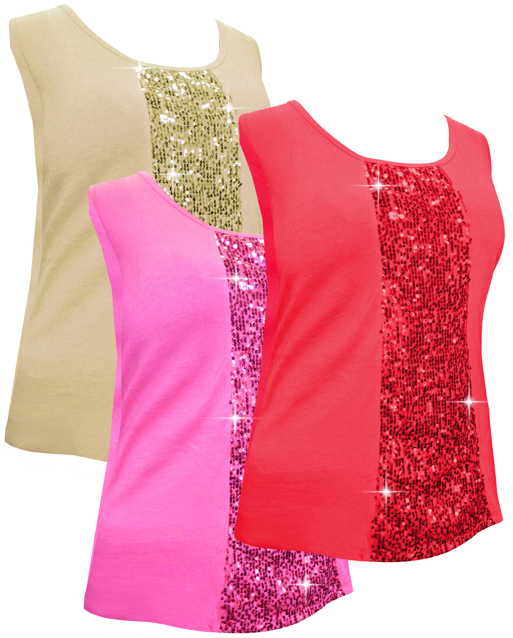 SOLD OUT! SALE! Sparkly Plus Size Sequin Tank Tops Red - Ivory ...