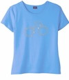 SOLD OUT! Sparkly Rhinestud Handcuffs on Light Blue Round Neck Plus Size Petite T-Shirt 2x 3x