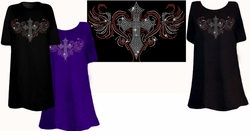 SOLD OUT! SALE! Sparkly Rhinestud Rhinestone Colorful Cross Heart Plus Size & Supersize T-Shirts 2xl 4xl 6xl