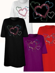 SOLD OUT! SALE! Sparkly Rhinestud Rhinestone Colorful  Multi Hearts Plus Size & Supersize T-Shirts 4xl