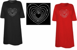 SOLD OUT! Sparkly Rhinestud Rhinestone Heart in Heart in Heart Plus Size & Supersize T-Shirts 6xl