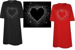 SOLD OUT! SALE! Sparkly Rhinestud Rhinestone Heart Scatter Plus Size & Supersize T-Shirts Med. 6xl