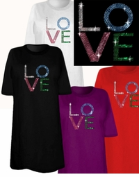 "SOLD OUT! SALE! Sparkly Rhinestud Rhinestone ""LO VE"" Plus Size & Supersize Love T-Shirts 4xl"