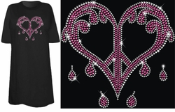 SOLD OUT! SALE! Sparkly Rhinestud Rhinestone Pink & Silver Dripping Peace Heart Plus Size & Supersize T-Shirts 4xl