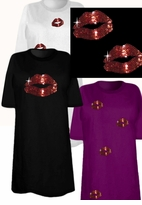 SALE! Sparkly Rhinestud Rhinestone Red Lips Plus Size & Supersize T-Shirts 2x