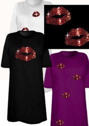 FINAL SALE! Sparkly Rhinestud Rhinestone Red Lips Plus Size & Supersize T-Shirts 2x