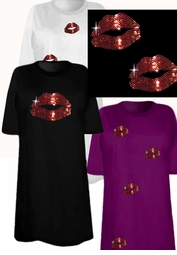 FINAL CLEARANCE SALE! Sparkly Rhinestud Rhinestone Red Lips Plus Size & Supersize T-Shirts 2x