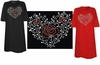 SOLD OUT! FINAL SALE! Sparkly Rhinestud Rhinestone Red & Silver Rose Heart Ivy Plus Size & Supersize T-Shirts 3xl