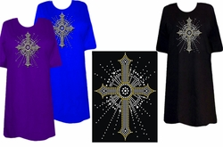SOLD OUT! SALE! Sparkly Rhinestud Rhinestone Silver & Gold Cross Plus Size & Supersize T-Shirts 4xl