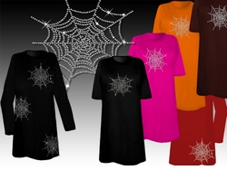 SOLD OUT! CLEARANCE! Sparkly Rhinestud Rhinestone Spider Web Halloween Costume Plus Size & Supersize Spiderweb T-Shirts 2xl 3xl 4xl