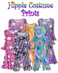 SOLD OUT! CLEARANCE! Plus Size Hippie Costume Print - 60's Style Retro Moo-Moo Dress or Top & Bell-Bottom Pant Set Plus Size & Supersize Hippie Halloween Costume Kit 1x 2x 5x 6x