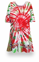 SALE! Peppermint Swirl Tie Dye Supersize X-Long Plus Size T-Shirt + Add Rhinestones 0x 1x 2x 3x 4x 5x 6x 8x 9x