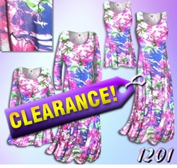 SOLD OUT! FINAL SALE! Spring Time Pink & Blue Floral Slinky Plus Size & Supersize A-Line Dresses 2x