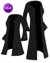 SOLD OUT! SALE! Starry Night Solid Black Ruffly Bell Sleeves with Rhinestuds Slinky Plus Size Jacket or Duster Lg to 9x