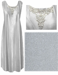 SOLD OUT! SALE! FINAL SALE! Stunning Off-White/Gray & Silver Plus Size Tank Dress With Beaded Collar 2x