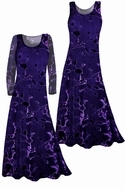 CLEARANCE! Stunning! Sheer Black & Purple Velvety Flocked Plus Size Dresses XL 3x 5x