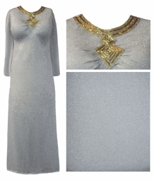 SOLD OUT! FINAL SALE! Stunning Silver Shimmer Plus Size Dress With Gold Beaded Neckline 2x