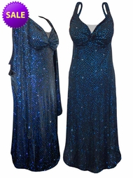 SOLD OUT! SALE! Stunning Sparkly Blue Dots 2 Piece Plus Size SuperSize Princess Seam Dress Set 1x