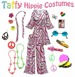 SOLD OUT! SALE! Taffy Print Hippie 2PC Set - 60�s Style Retro Plus Size & Supersize Halloween Costume Kit Lg XL 0x 1x 2x 3x 4x 5x 6x 7x 8x 9x