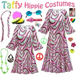 SOLD OUT! SALE! Taffy Print Hippie Dress - 60�s Style Retro Plus Size & Supersize Halloween Costume Kit Lg XL 0x 1x 2x 3x 4x 5x 6x 7x 8x 9x